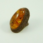 Amber-leather ring